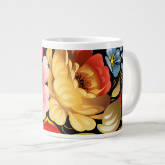 Arte popular colorido floral tazas jumbo