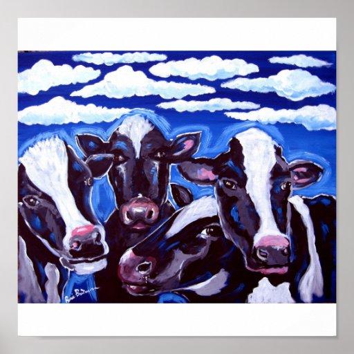 Arte popular colorido vegetariano de las vacas póster