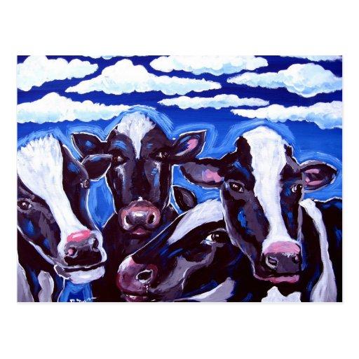 Arte popular colorido vegetariano de las vacas postal