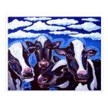 Arte popular colorido vegetariano de las vacas tarjetas postales