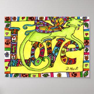 Arte popular de hadas del amor del gato mini póster