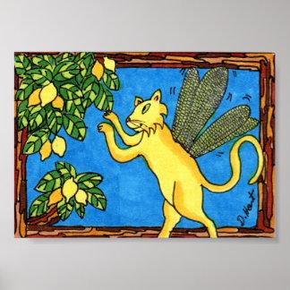 Arte popular de hadas del gato del limón mini póster