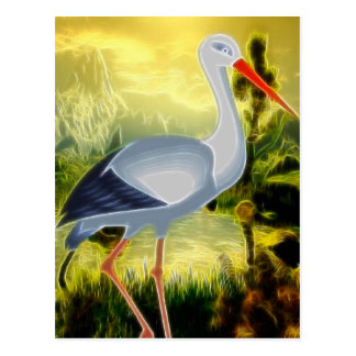 Arte popular de la cigüeña tarjetas postales