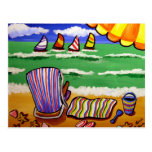 Arte popular de la diversión de la silla de playa tarjetas postales