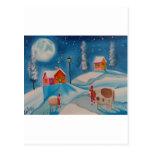 arte popular de la escena de la nieve del invierno tarjetas postales