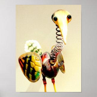 Arte popular de la grúa del pájaro del metal del o poster
