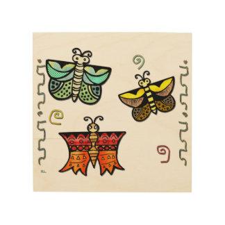 Arte popular de la mariposa de Zuni Impresiones En Madera