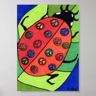 Arte popular de la mariquita del signo de la paz