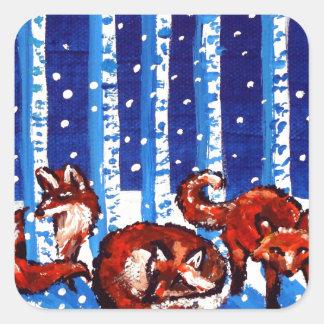Arte popular de los árboles de abedul del Fox rojo Pegatina Cuadrada