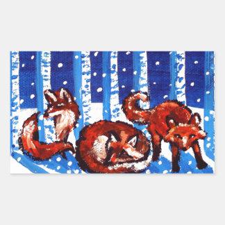Arte popular de los árboles de abedul del Fox rojo Pegatina Rectangular