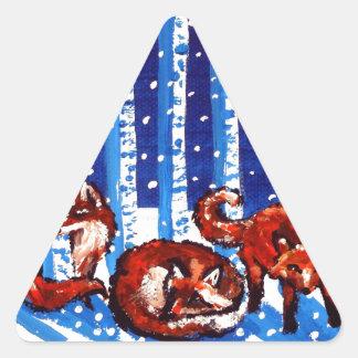 Arte popular de los árboles de abedul del Fox rojo Pegatina Triangular