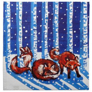 Arte popular de los árboles de abedul del Fox rojo Servilleta Imprimida