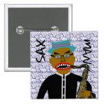 Arte popular de los azules del hombre del saxofón pin