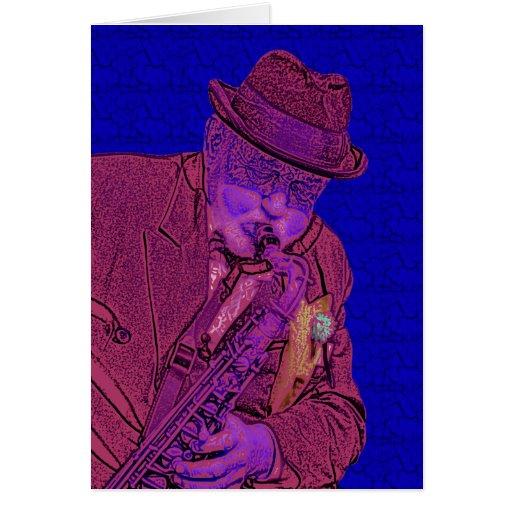 Arte popular de los azules del hombre del saxofón tarjeta de felicitación