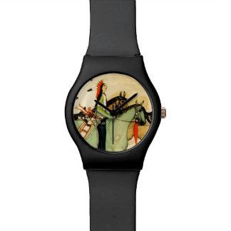 Arte popular de los caballos indios americanos occ reloj de mano