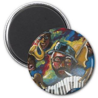 Arte popular de los músicos del cuarteto del jazz imán redondo 5 cm
