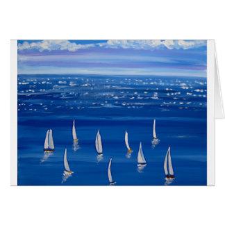 Arte popular de los veleros azules de la navegació tarjeta de felicitación