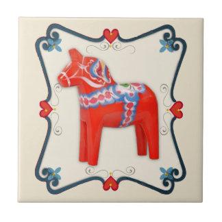 Arte popular del caballo de Dala del sueco Azulejo Cuadrado Pequeño