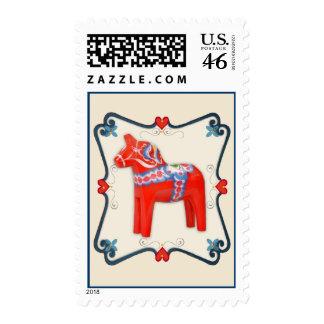 Arte popular del caballo de Dala del sueco enmarca Sellos