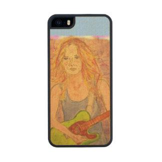 arte popular del chica de la roca funda de madera para iPhone 5