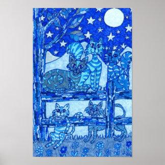 Arte popular del club del gato de la luna azul póster