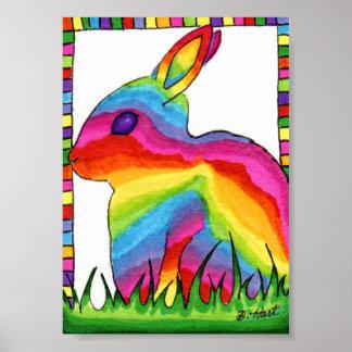 Arte popular del conejo de conejito del arco iris póster