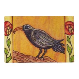 Arte popular del cuervo de los rosas negros del tapete individual