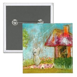 Arte popular del día del ratón caprichoso propicio pin cuadrada 5 cm
