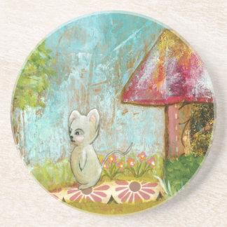 Arte popular del día del ratón caprichoso propicio posavasos personalizados
