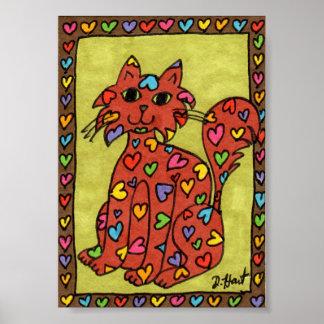 Arte popular del gato del corazón del pan de póster