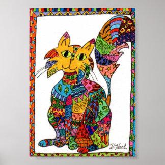 Arte popular del gato del remiendo mini póster