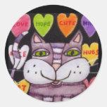Arte popular del gato púrpura del corazón del pegatinas redondas