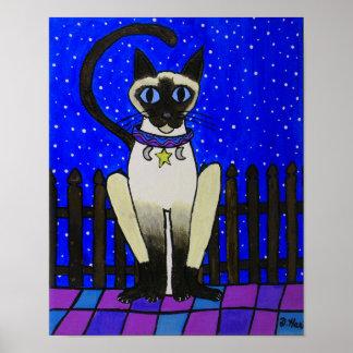 Arte popular del gato siamés de la luz de las póster