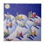 Arte popular del invierno silencioso de la noche azulejos