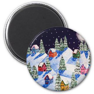 Arte popular del invierno silencioso de la noche imán redondo 5 cm