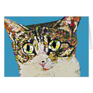 Arte popular del mosaico del gato tarjeta de felicitación