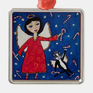 Arte popular del navidad del gato del ángel del adorno navideño cuadrado de metal