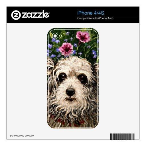 arte popular del perro 4796b y de las petunias iPhone 4 skin
