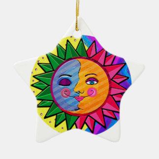 Arte popular del sol colorido adorno navideño de cerámica en forma de estrella