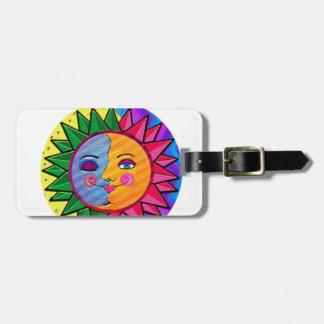 Arte popular del sol colorido etiquetas para maletas