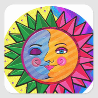 Arte popular del sol colorido pegatina cuadrada