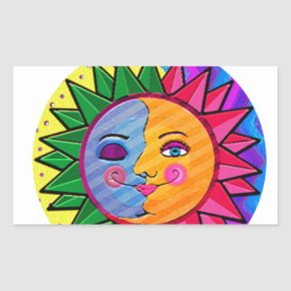 Arte popular del sol colorido pegatina rectangular