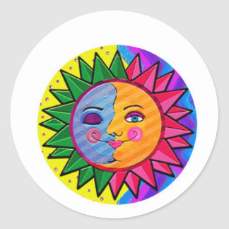 Arte popular del sol colorido pegatina redonda