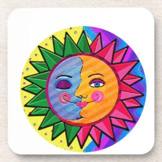 Arte popular del sol colorido posavasos de bebidas