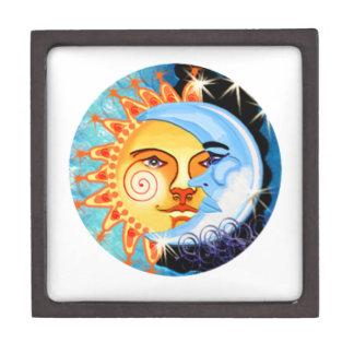 arte popular del sol de la luna. colorido cajas de recuerdo de calidad