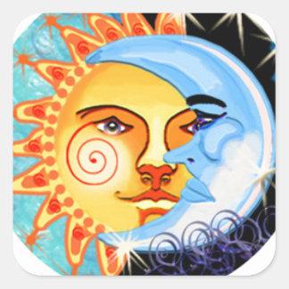 arte popular del sol de la luna. colorido pegatina cuadrada