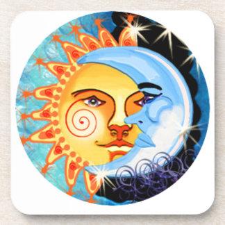 arte popular del sol de la luna. colorido posavasos de bebida