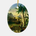 Arte popular del Victorian del vintage, la arca de Adorno Ovalado De Cerámica