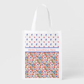 Arte popular elegante floral en el bolso de bolsas para la compra
