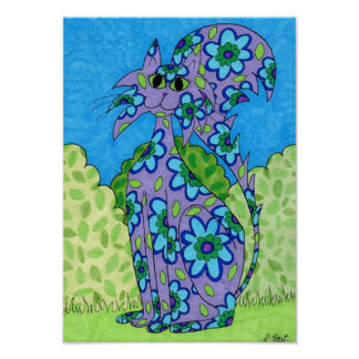 Arte popular florecido azul del gato púrpura póster